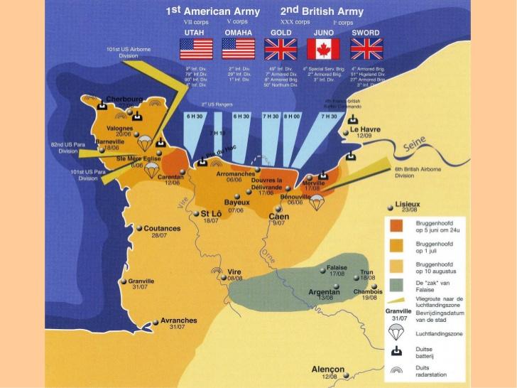 D-day landings zones